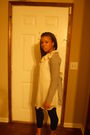 White-marshalls-top-black-poof-tights-gray-sweater
