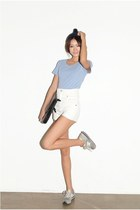 white shorts - light blue top