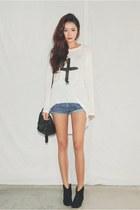 white shirt - blue shorts