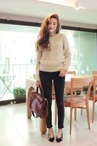 eggshell sweater - dark gray jeans - bronze bag