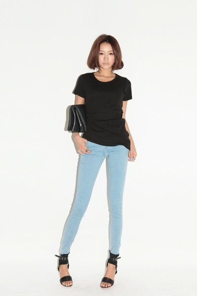 Light blue jeans black shirts roll up by parksora Black shirt blue jeans
