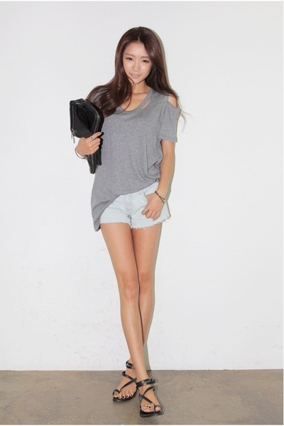 silver shirt - black bag - light blue shorts
