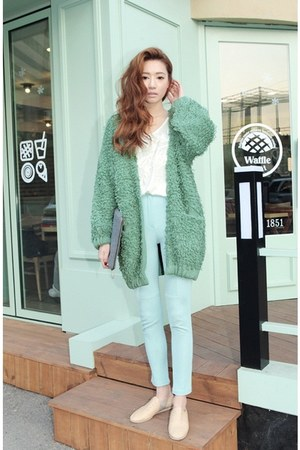 aquamarine coat - white shirt - light blue pants