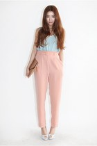 light pink pants - light blue sleeveless shirt - bronze bag - periwinkle heels