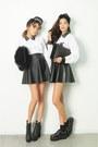 Ivory-top-dark-gray-skirt
