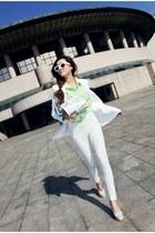 white blazer - aquamarine shirt - off white heels