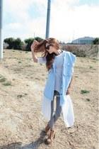 sky blue Style Nanda vest - silver Forever 21 leggings - white Style Nanda shirt