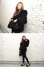 Black-coat-black-flats