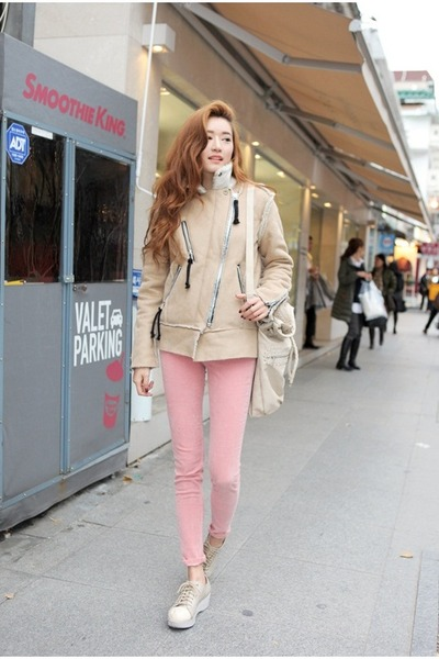 light pink pants - eggshell jacket
