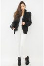 Black-coat-white-pants