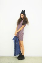 black beanie hat - amethyst Stylenanda dress - navy denim jacket