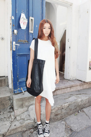 white dress - black bag