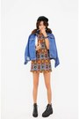 Blue-denim-jacket-bronze-dress