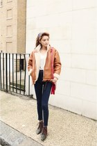 bronze jacket - navy jeans - ivory shirt