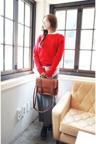 red sweater - black shoes - white shirt - tawny bag - heather gray skirt