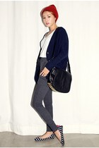 navy cardigan - white shirt - charcoal gray pants
