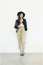 dark gray jacket - beige pants