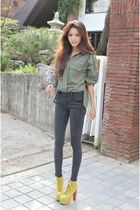 olive green shirt - dark gray pants