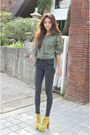 Olive-green-shirt-dark-gray-pants