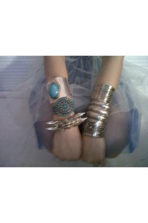 turquoise blue Mango bracelet - silver H&M bracelet - sky blue tulle handmade sk