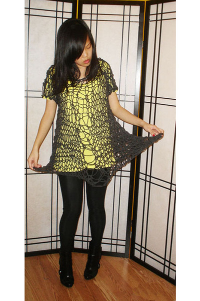 dress - American Apparel leggings - Miss Sixty boots