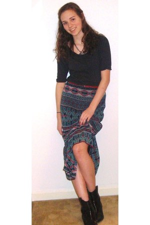 western print papaya skirt - red Target belt - borrowed necklace