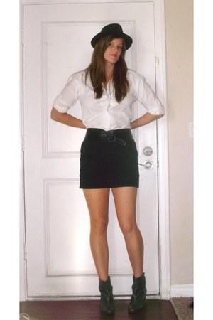 gray Aldo shoes - black papaya skirt - white Walmart shirt - black Target hat