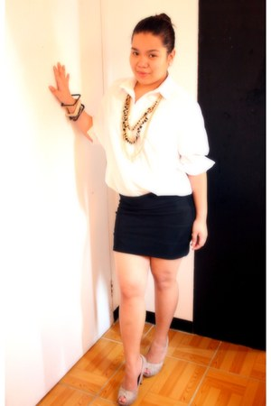 PMC accessories - black bandage Apartment Inc skirt - white Zara blouse