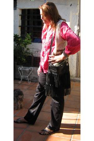 shirt - fringed bag - vintage vest - pants