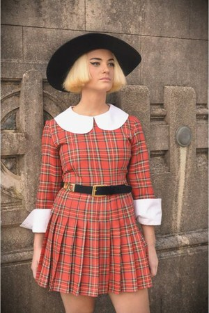 tartan dress - black vintage hat - red belt - black panties