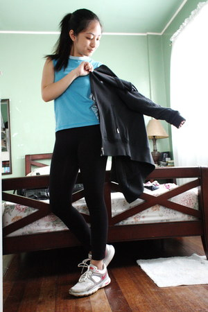 black nike jacket - blue nike top - white nike sneakers
