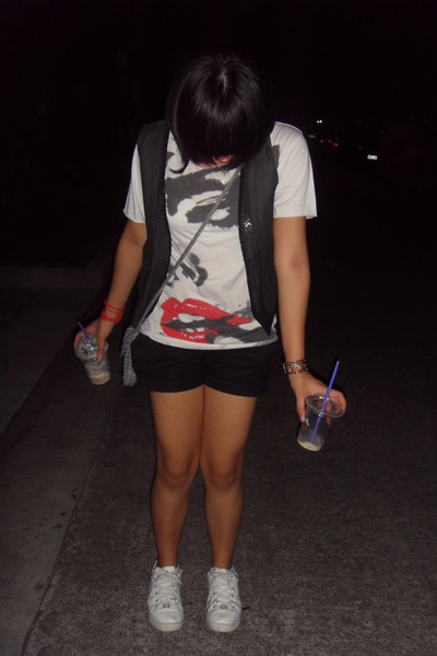 random from Bangkok top - Tomato vest - Mango shorts - Marc Ecko shoes - the sak