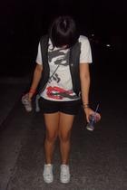 random from Bangkok top - Tomato vest - Mango shorts - Marc Ecko shoes - the sak