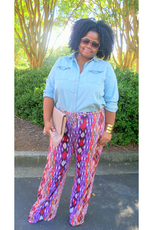 palazzo JCPenney pants - asos purse - H&M accessories - denim Old Navy top