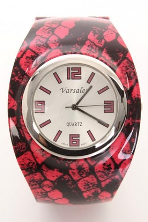 Fuchsia Snake Print Smooth Plastic Finis watch