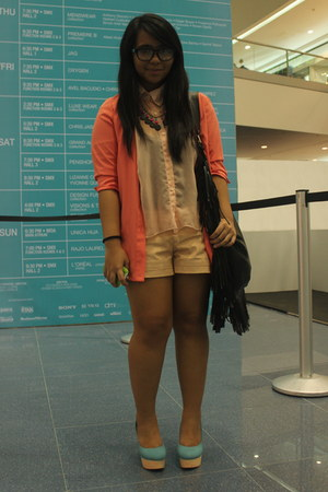 salmon thrifted blazer - nude leather Forever 21 shorts