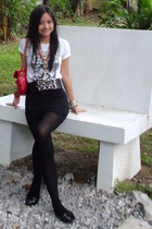 bangkok t-shirt - calvin klein skirt - bangkok belt - random tights - random pur