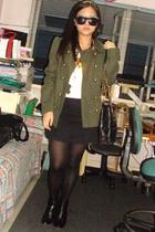 Topshop coat - Topshop t-shirt - American Eagle skirt - Janylin boots