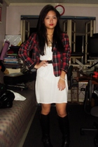 H&M blazer - Zara dress - forever 21 necklace - Charles & Keith boots