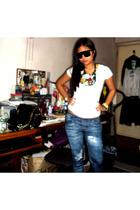 Atmosphere shirt - Zara leggings - DIY necklace - The Ramp shoes