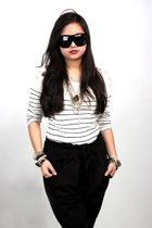 white Topshop top - silver Forever 21 accessories - black Aldo sunglasses - blac
