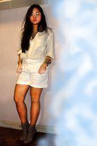 white Topman shirt - white Jaspal shorts - beige Forever 21 shoes - gold Forever