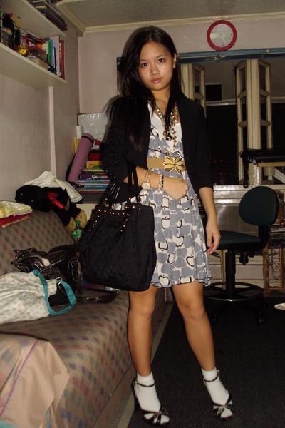 bangkok dress - heart blazer - Topshop belt - Luxe shoes - Gucci purse - forever