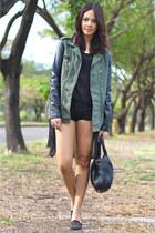 army green leather sleeved Topshop jacket - black Alexander Wang bag