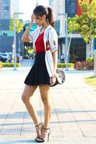 black Topshop skirt - ruby red Old Navy t-shirt