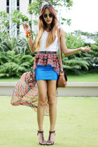 brown Gucci bag - blue mullet-peplum Eudora Wear skirt - white Forever 21 top