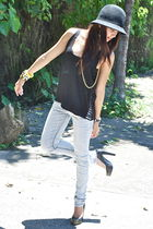 black NTICE top - black felt Urban Outfitters hat - faded denims Forever 21