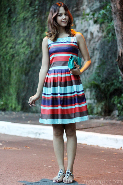 striped Celine dress - turquoise blue Tomato bag - gold bejeweled Celine sandals