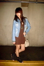 Mango-jacket-brown-dress-black-zara-gold-h-m