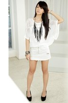 white Topshop top - white denim Topshop skirt - black suede Forever 21 heels - b